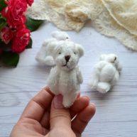 Мишка для куклы белый 6 см