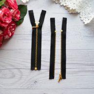 Молния для кукольной одежды черная с золотом 10.5 cм разъемная