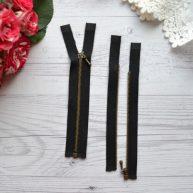 Молния для кукольной одежды черная с бронзой 10.5 cм разъемная
