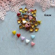 Гвоздики декоративные Сердце Микс 6 мм — 10шт. MF143