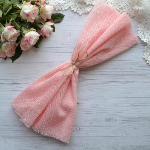 Фатин средней жескости розовый в горошекTF13 Отрез 30*80см
