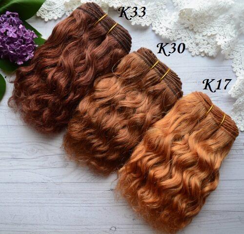 • Русые волосы для кукол Козочка. Длина волос 15 см, ширина треса 1 метр. Цена указана за 1 метр.