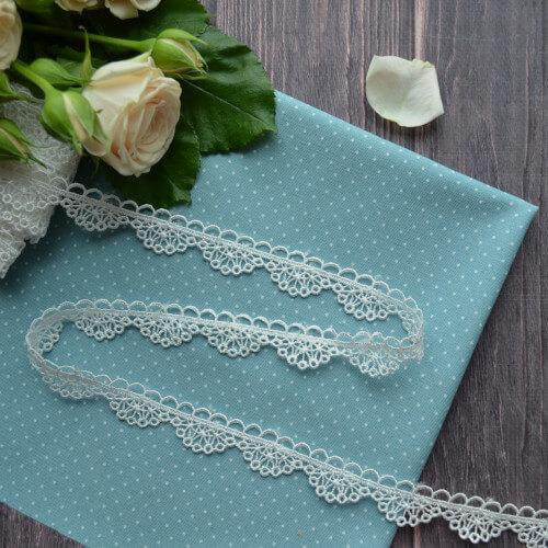 • Кружево ажурное белое. Для декора кукольной одежды, шитья, скрапбукинга и прочего рукоделия. Ширина: 16 мм. Цена указана за 1м.