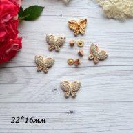 Декоративная Бабочка заклепка золото 16*22мм MF178