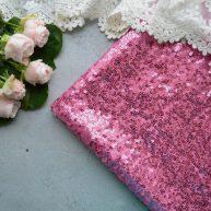 Пайетка на сеточке розовая. Отрез 20*50см TKR125
