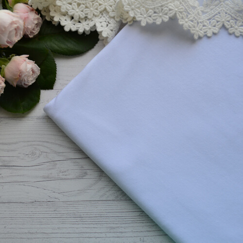 • Трикотаж для одежды белый. Ширина ткани 180см. Цена указана за 1 отрез 1 отрез – 20*50см 2 отреза - 40*50см 3 отреза - 60*50см 4 отреза - 80*50см …
